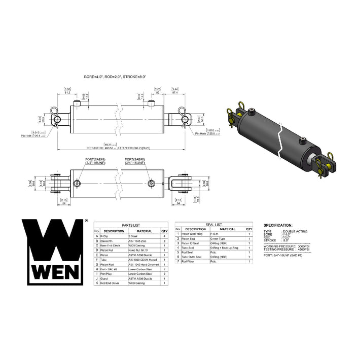 WEN CC4008 Clevis Hydraulic Cylinder with 4-inch Bore and 8-inch Stroke