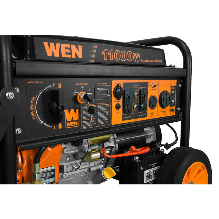 WEN DF1100T 11,000/8,300-Watt 120V/240V Dual Fuel Gasoline and Propane Powered Electric Start Portable Generator with Wheel Kit