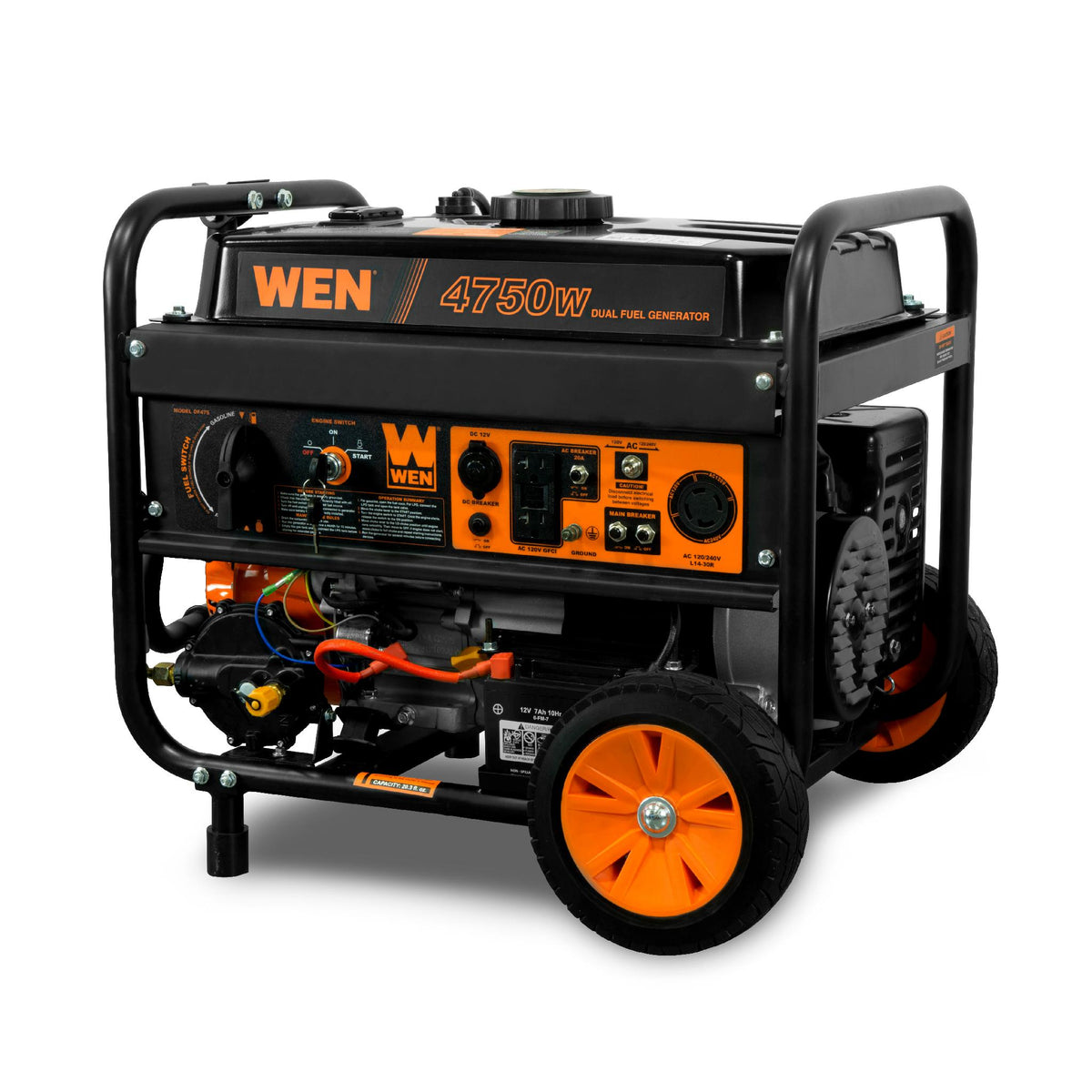 WEN DF475T 4,750/3,800-Watt 120-Volt/240-Volt Dual Fuel Gasoline and  Propane Powered Electric Start Portable Generator w/ Wheel Kit