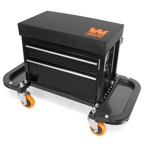 WEN GG7315 400-Pound Capacity Garage Glider Rolling Tool Chest Seat with Storage Pouch