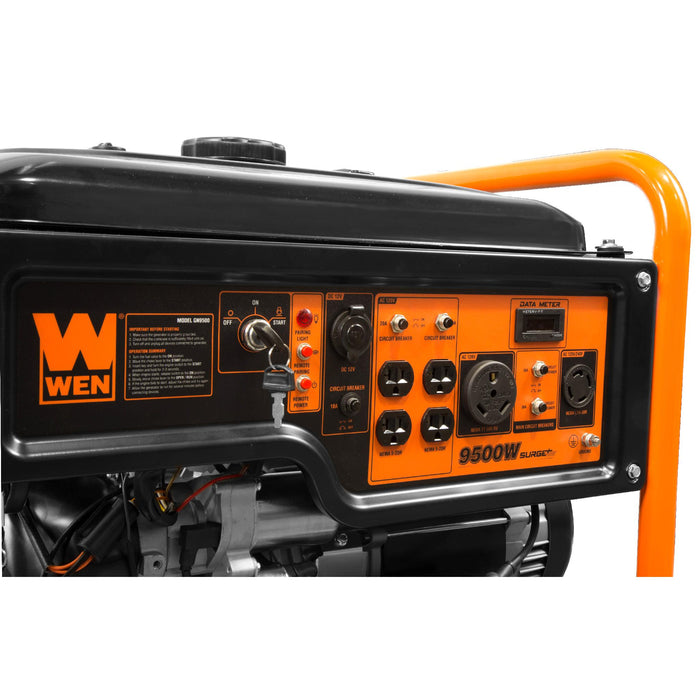 WEN GN9500 9500-Watt 420cc Transfer Switch and RV Ready 120V/240V Portable Generator with Remote Electric Start, CARB Compliant