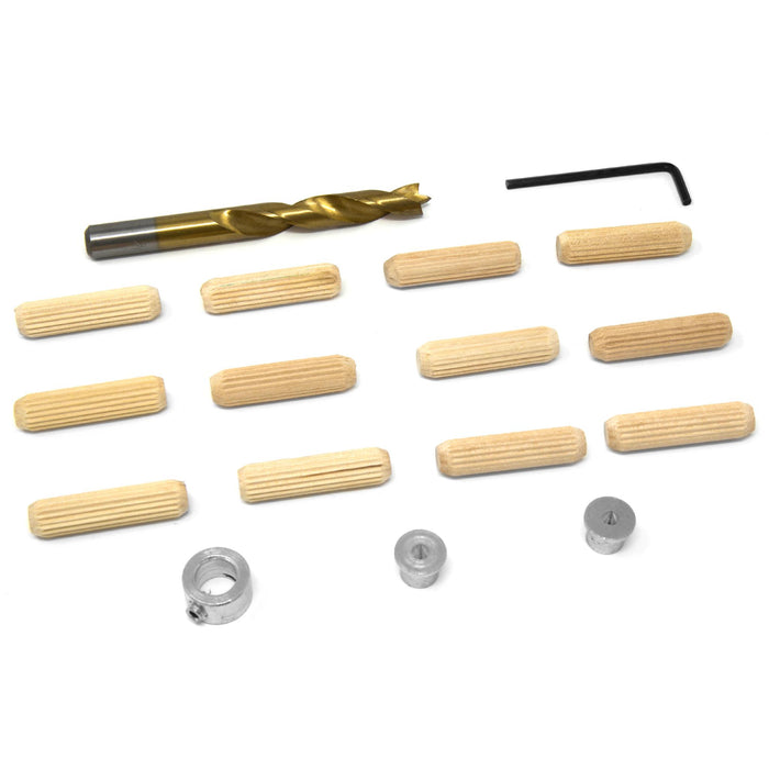 WEN JN038D 3/8-Inch Wooden Doweling Kit with Drill Bit, Stop Collar, and Fluted Birch Wood Dowels