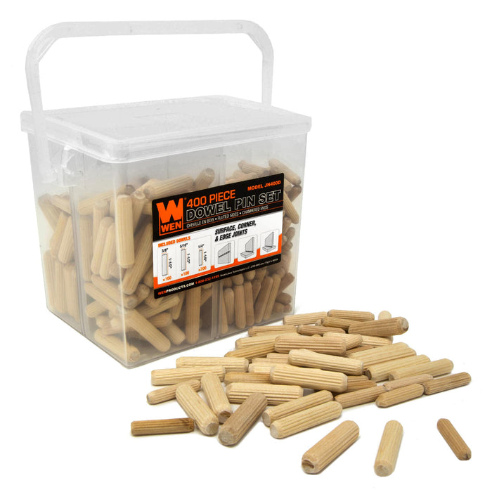 Wen Jn400d 400 Piece Fluted Dowel Pin Variety Bucket With 1 4 5 16 And 3 8 Inch Woodworking Dowels