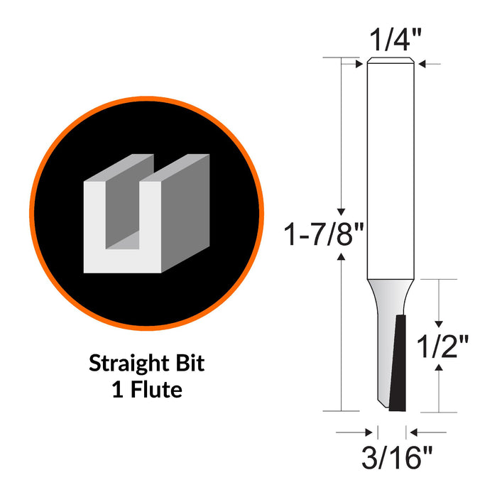 WEN RB002SF 3/16 in. Straight 1-Flute Carbide-Tipped Router Bit with 1/4 in. Shank