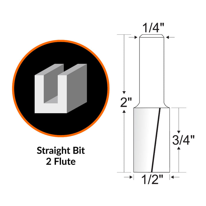 WEN RB107FF 1/2 in. Straight 2-Flute Carbide-Tipped Router Bit with 1/4 in. Shank and 3/4 in. Cutting Length