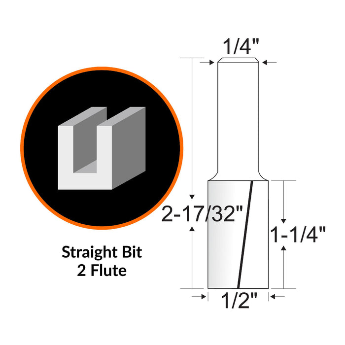 WEN RB108FF 1/2 in. Straight 2-Flute Carbide-Tipped Router Bit with 1/4 in. Shank and 1-1/4 in. Cutting Length