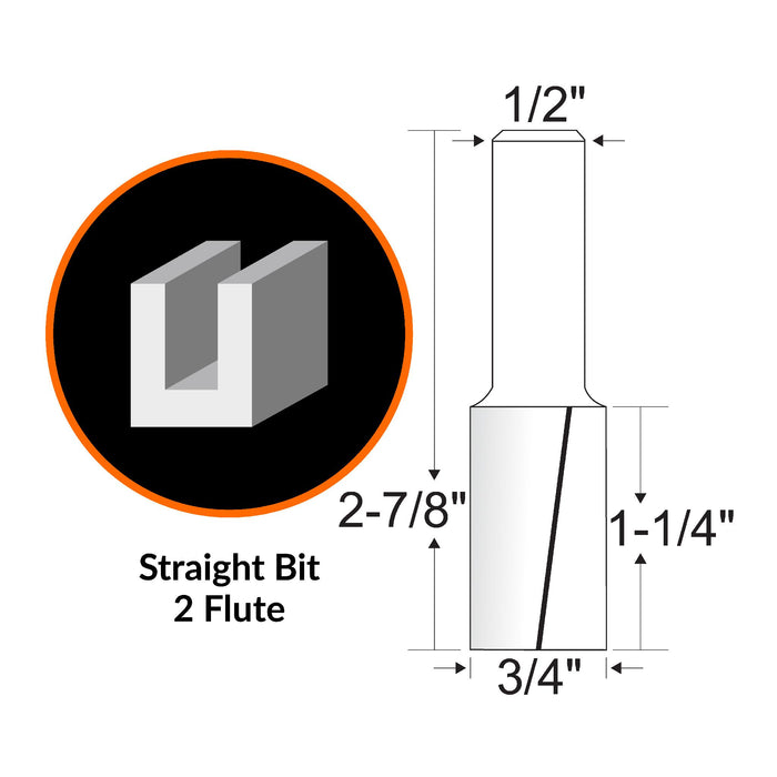 WEN RB112FF 3/4 in. Straight 2-Flute Carbide-Tipped Router Bit with 1/2 in. Shank