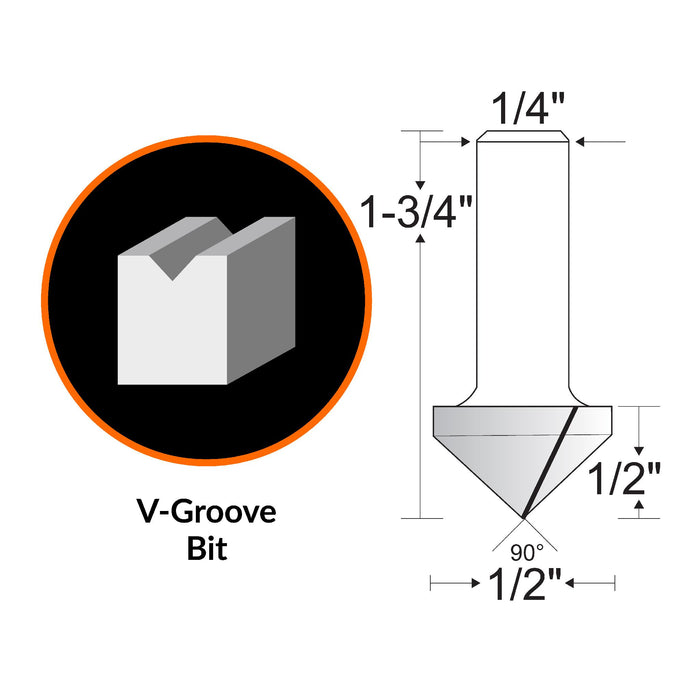 WEN RB301VG 1/2 in. V-Groove Carbide-Tipped Router Bit with 1/4 in. Shank and 1/2 in. Cutting Length