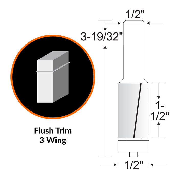 WEN RB502FW 1/2 in. Flush Trim 3-Wing Carbide-Tipped Router Bit with 1/2 in. Shank