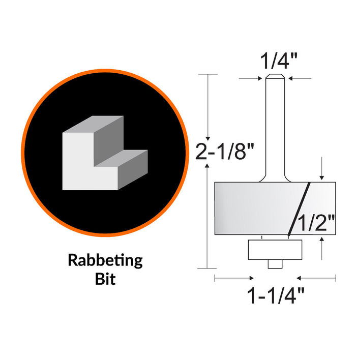 WEN RB701RA 1-1/4 Rabbeting Carbide-Tipped Router Bit with 1/4 in. Shank