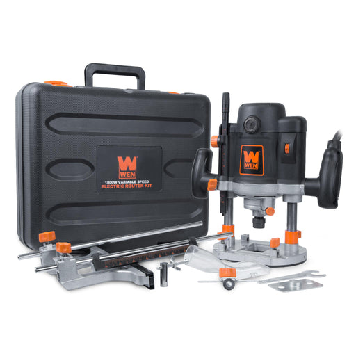 WEN RT6033 15-Amp Variable Speed Plunge Woodworking Router Kit with Carrying Case and Edge Guide