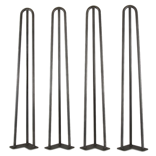 WEN TL28B 28-Inch Mid-Century Modern Satin Black Hairpin Table Legs, 1/2″ Diameter, Set of 4