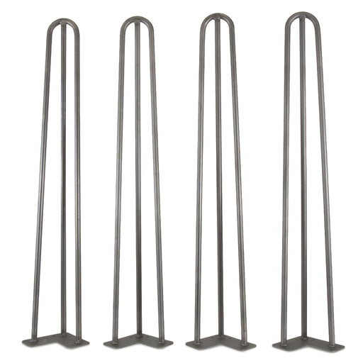 WEN TL28S 28-Inch Mid-Century Modern Raw Steel Hairpin Table Legs, 1/2″ Diameter, Set of 4