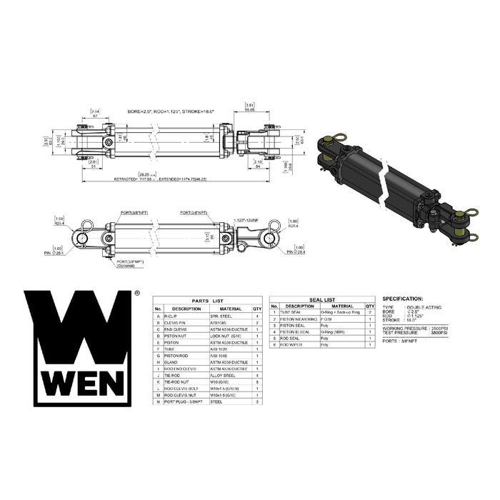 WEN TR2518 2500 PSI Tie Rod Hydraulic Cylinder with 2.5 in. Bore and 18 in. Stroke