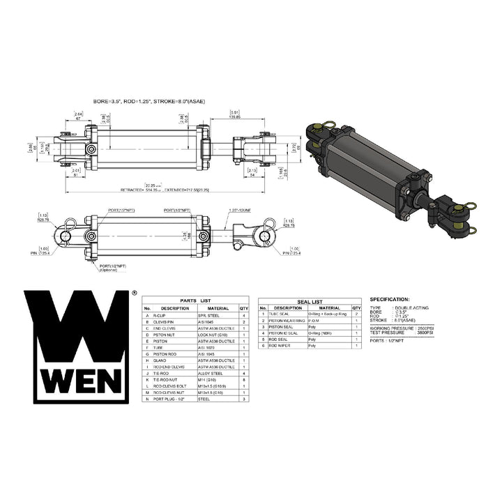 WEN TR3508A 2500 PSI ASAE Tie Rod Hydraulic Cylinder with 3.5 in. Bore and 8 in. Stroke