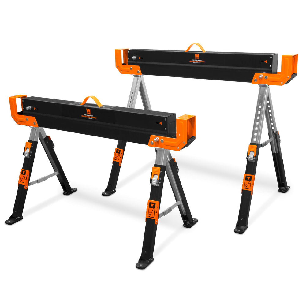 WEN WA1300-2 1300-Pound Capacity Height Adjustable Folding Steel Saw Horse with 2x4 Support Arms, Two Pack