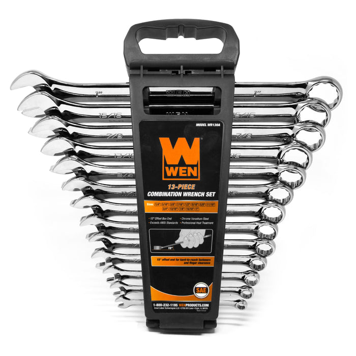 WEN WR130A 13-Piece Professional-Grade SAE Combination Wrench Set with Storage Rack