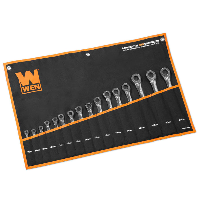 WEN WR161M 16-Piece Professional-Grade Ratcheting Metric Combination Wrench Set with Storage Pouch
