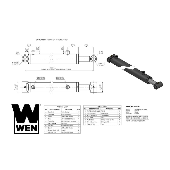 WEN WT1510 Cross Tube Hydraulic Cylinder with 1.5-inch Bore and 10-inch Stroke