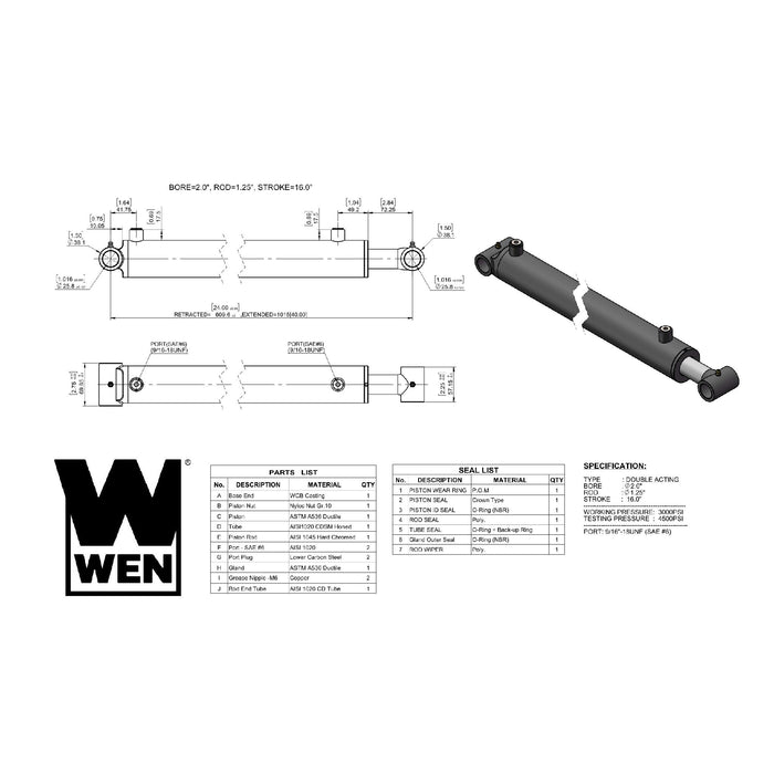 WEN WT2016 Cross Tube Hydraulic Cylinder with 2-inch Bore and 16-inch Stroke