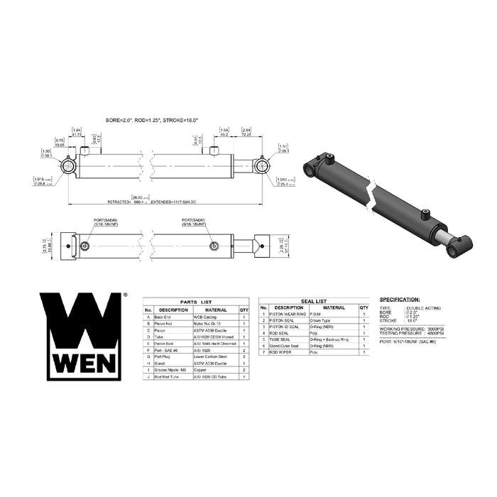 WEN WT2018 Cross Tube Hydraulic Cylinder with 2-inch Bore and 18-inch Stroke