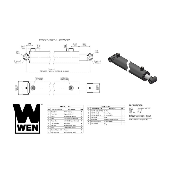 WEN WT2506 Cross Tube Hydraulic Cylinder with 2.5-inch Bore and 6-inch Stroke