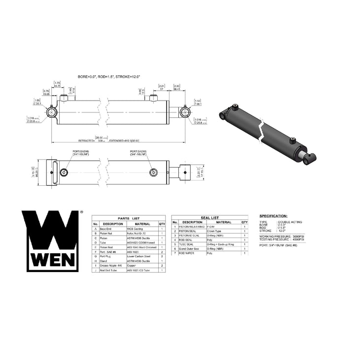 WEN WT3012 Cross Tube Hydraulic Cylinder with 3-inch Bore and 12-inch Stroke
