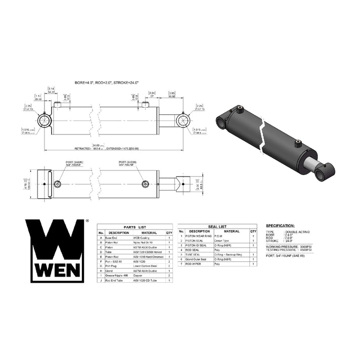 WEN WT4024 Cross Tube Hydraulic Cylinder with 4-inch Bore and 24-inch Stroke