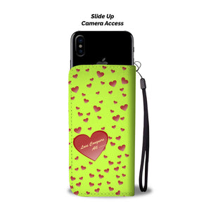 Love conquers all green wallet phone case - Beelat Sydney