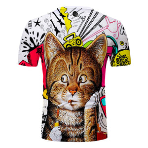 Cat with a cigarette fully printed tee - Beelat Sydney