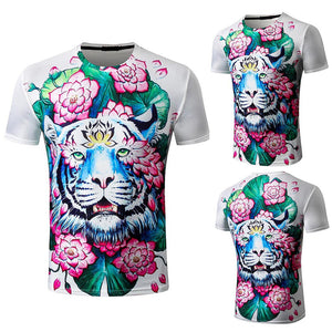 A lion and retro flower digital printing t-shirts - Beelat Sydney