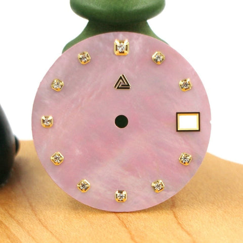 Mother of Pearl Dial with Swarovski Crystals - Pink (Date) - A SEIKO Mod Part by Lucius Atelier