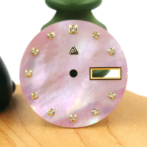 Mother of Pearl Dial with Swarovski Crystals - Pink (Day Date) - A SEIKO Mod Part by Lucius Atelier