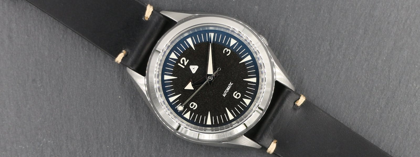 Seiko SNKL23 modified with (i) BGW9 Nautical Explorer Dial, (ii) BGW9 Polished Silver Broad Arrow Hands, (iii) Double Sided Blue AR Sapphire Crystal on (iv) Black Vintage Italian Calf Leather Strap