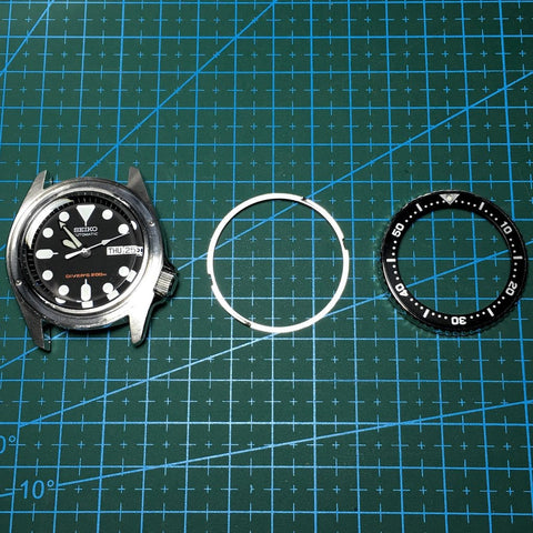 (Left) Watch case frame, (Middle) bezel click spring and (Right) bezel with insert - Tutorial on How to modify your SEIKO Bezels and Bezel Inserts by Lucius Atelier