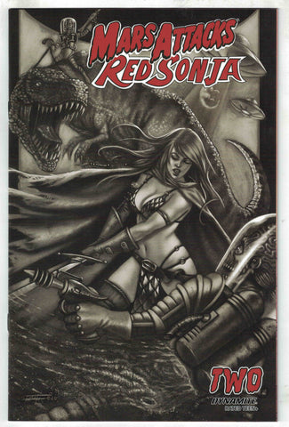 Mars Attacks Red Sonja #2  - 1:7 Ratio B&W Variant - Luca Strati
