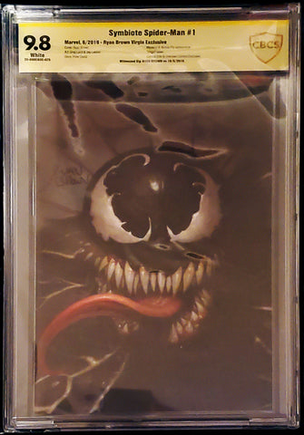 Symbiote Spider-Man #1 - Signed Virgin Variant - CBCS Graded 9.8 Slab - Ryan Brown