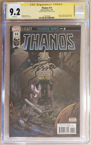 Thanos #13 - Signed by Donny Cates - CGC 9.2 Graded Slab - Geoff Shaw
