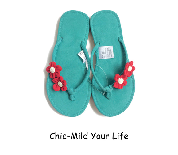 8c04b9c5d Chic-Mild Handmade Two small Green Red Flowers Flip Flops Sandals