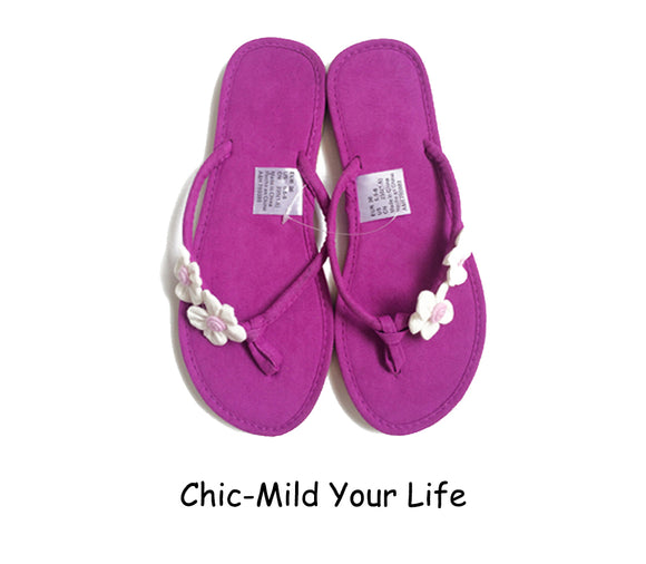 e81cae6ad Chic-Mild Handmade Lovely Small White Pink Flowers Classic Purple Flip  Flops Sandals