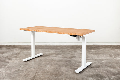 Cherry wood desk with white legs