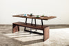 Solid Walnut Dining Table with Beveled Edge - Angular base