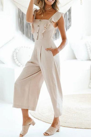 off white ruffle detail button bodice jumpsuit romper