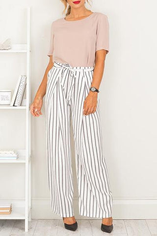 white with black stripes high waist nautical palazzo wide leg pants