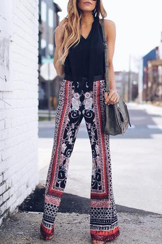 black red white tribal print traveler hippy wide leg boho patterned pants