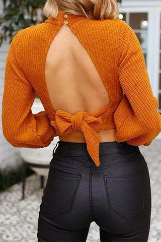 orange ribbed fitted cropped polo neck puff sleeve backless open back bow sweater