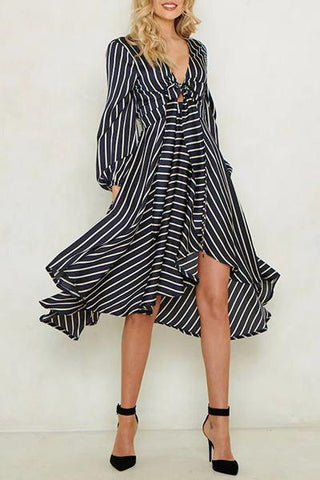 black and white striped irregular handkerchief asymmetric hemline dress