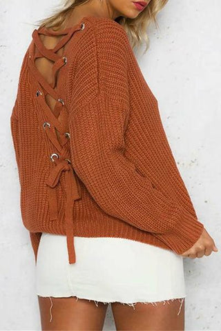 brown lace up back eyelet knitted sweater fall 2018 knitwear