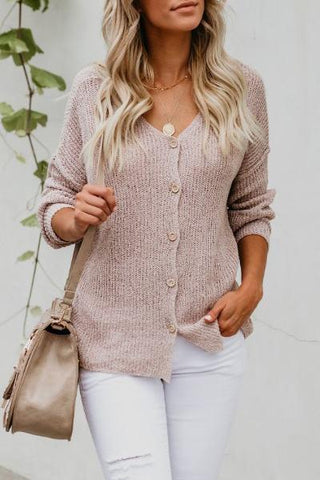 pale pink button through classic knitted cardigan fall 2018