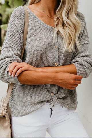 dove gray knitted classic button through cardigan sweater